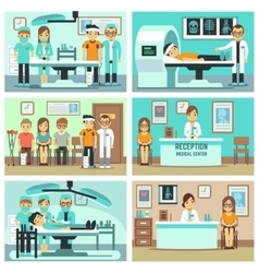 People patients in hospital medical staff in vector