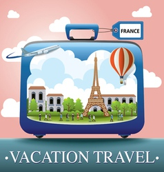 Luggage and travel vacation to france vector