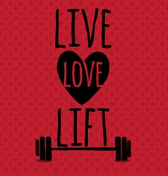 Greeting card sport motivation live love lift vector
