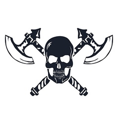 Skull with crossed axes isolated on white vector