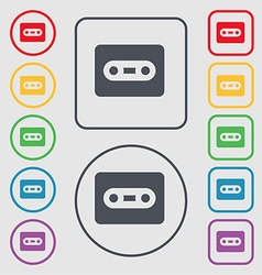 Cassette icon sign symbol on the round and square vector