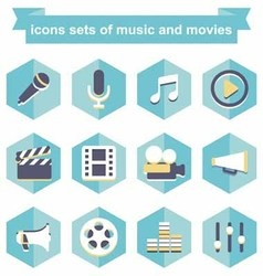 Icons sets music and movies vector