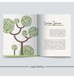 Booklet with a picture of a green tree vector