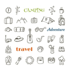 Hand drawn camping icon set collection of camping vector