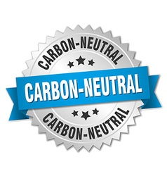 Carbon-neutral 3d silver badge with blue ribbon vector