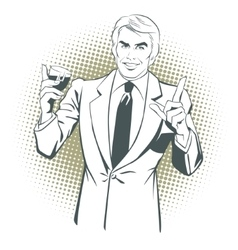 People in style popart man offering drink alcohol vector