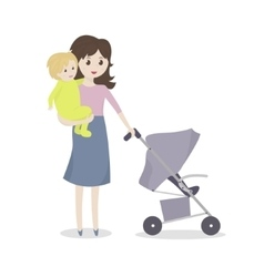Young mom holding a baby in her arms vector