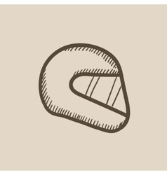 Motorcycle helmet sketch icon vector