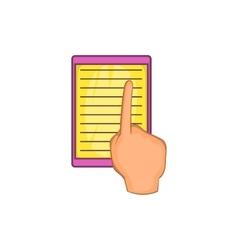 E-book and hand icon cartoon style vector