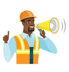 African-american builder making announcement vector