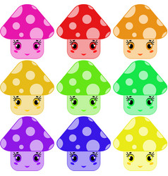 cartoon mushrooms of different colors vector image vector image