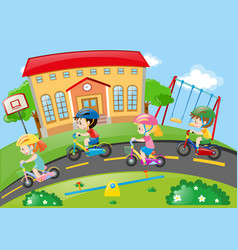 children riding bike on the road vector image