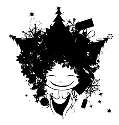 Christmas female portrait black silhouette for vector