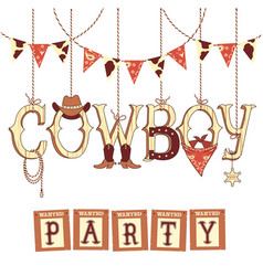cowboy western party text symbols isolated on vector image