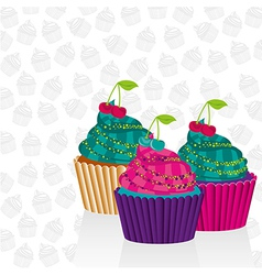 Cupcakes psychedelic over pattern silhouettes of c vector
