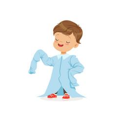 cute boy wearing dult oversized light blue shirt vector image vector image