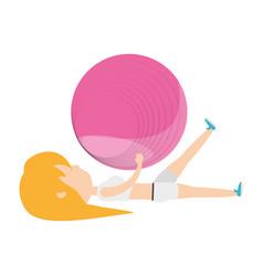 fitness woman cartoon vector image vector image