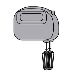 Grayscale silhouette with kitchen mixer vector