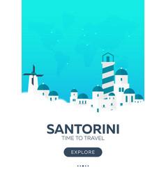 Greece santorini time to travel travel poster vector