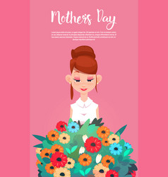 Happy mother day woman hold present flowers vector