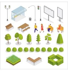 Isometric city isometric people urban elements vector