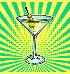 liquor alcohol cocktail pop art vector image