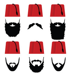 man head with fez set vector image