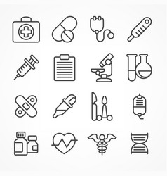 Medical line icons on white vector