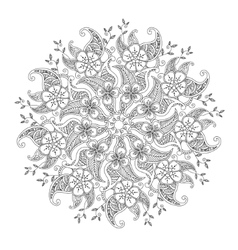 Monochrome mendie mandala with flowers and leaves vector