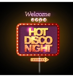 Neon sign hot disco night vector
