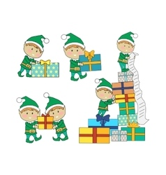 Set of fairy elves with christmas presents vector