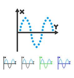 Sinusoid plot flat icon vector