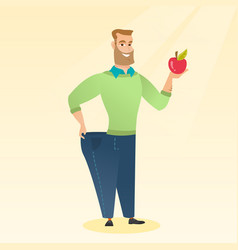 slim man in pants showing results of his diet vector image