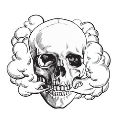 smoke coming out of fleshless skull death mortal vector image vector image