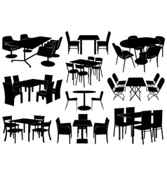 tables and chairs vector image vector image