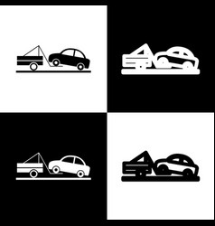 Tow truck sign black and white icons and vector