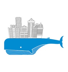 Town on whale water city modern metropolis on back vector