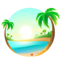 tropical beach among palm trees vector image vector image