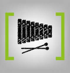 xylophone sign black scribble icon in vector image