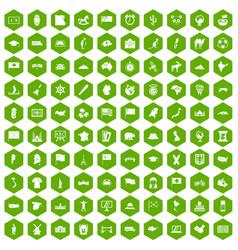 100 geography icons hexagon green vector