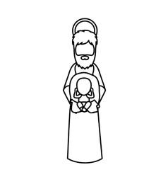 Joseph and jesus of holy night design vector