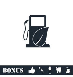 Gas station with leaves icon flat vector