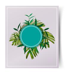 Tropical leaf card vector
