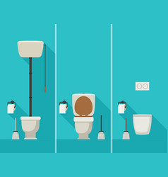 Toilets in flat style vector