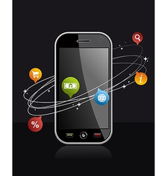 Smartphone device with application on black vector image