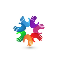 Colorful hands teamwork logo vector image