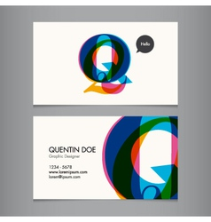Business card template letter q vector