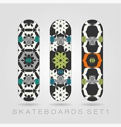 Skateboard set Tracery floral vector image