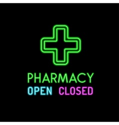 Pharmacy neon sign on black background vector