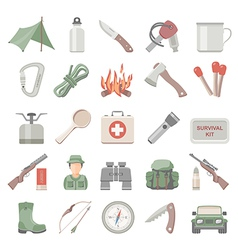 Flat icons hunting and bushcraft vector